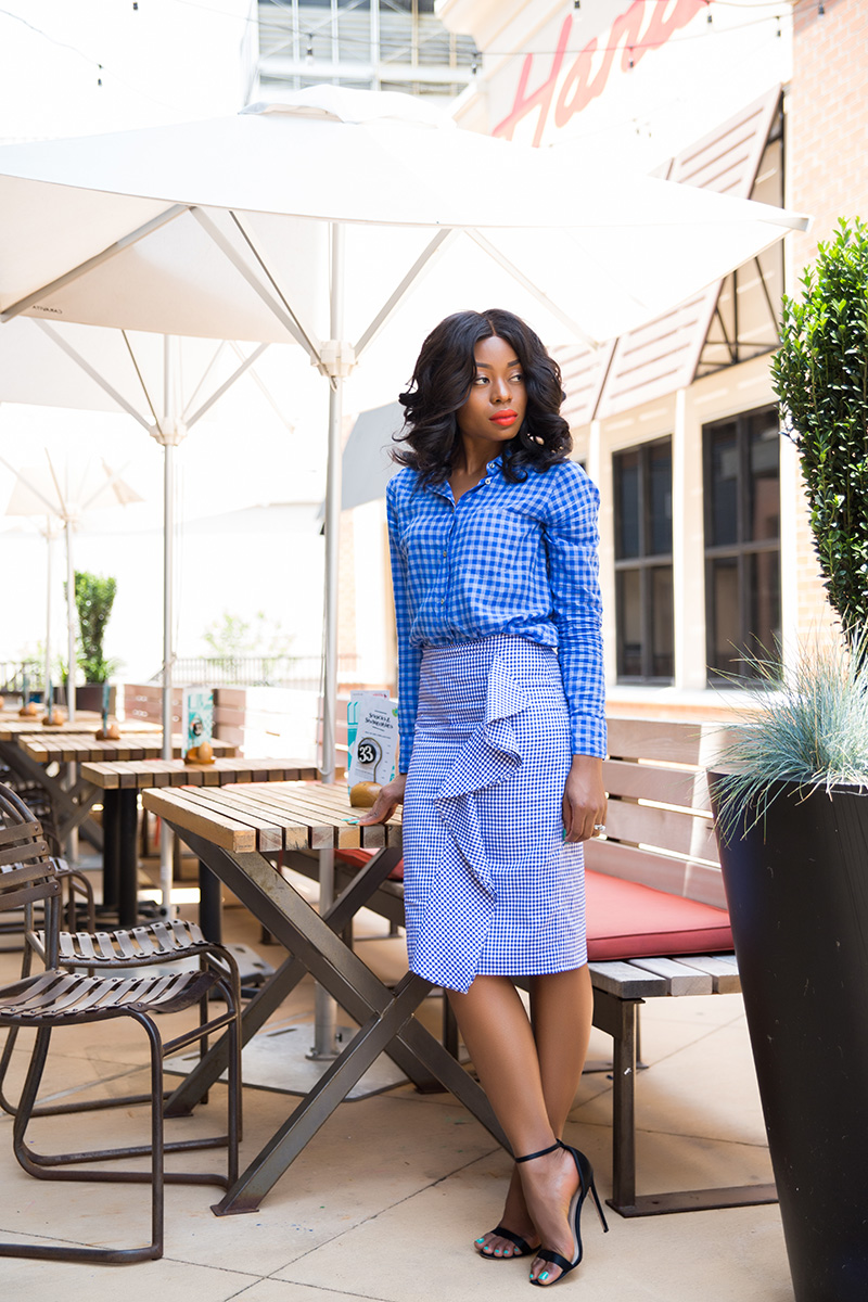 jcrew ruffle skirt, gingham shirt, www.jadore-fashion.com