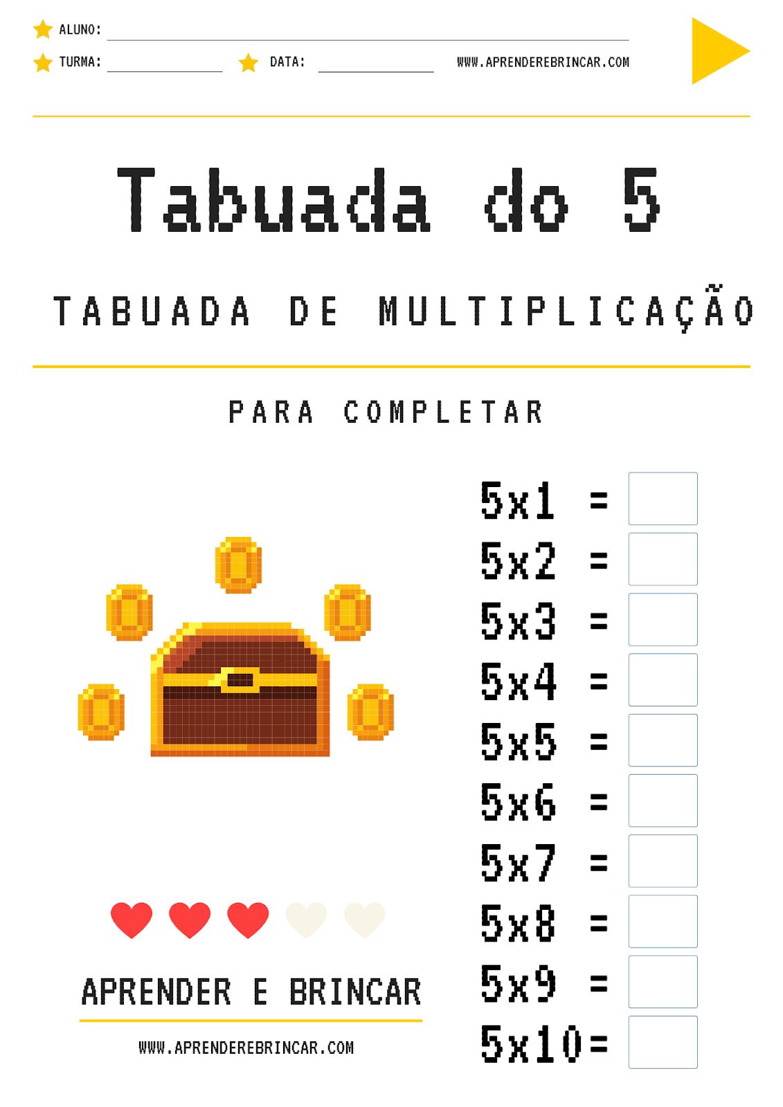 Tabuada de multiplicação do 5