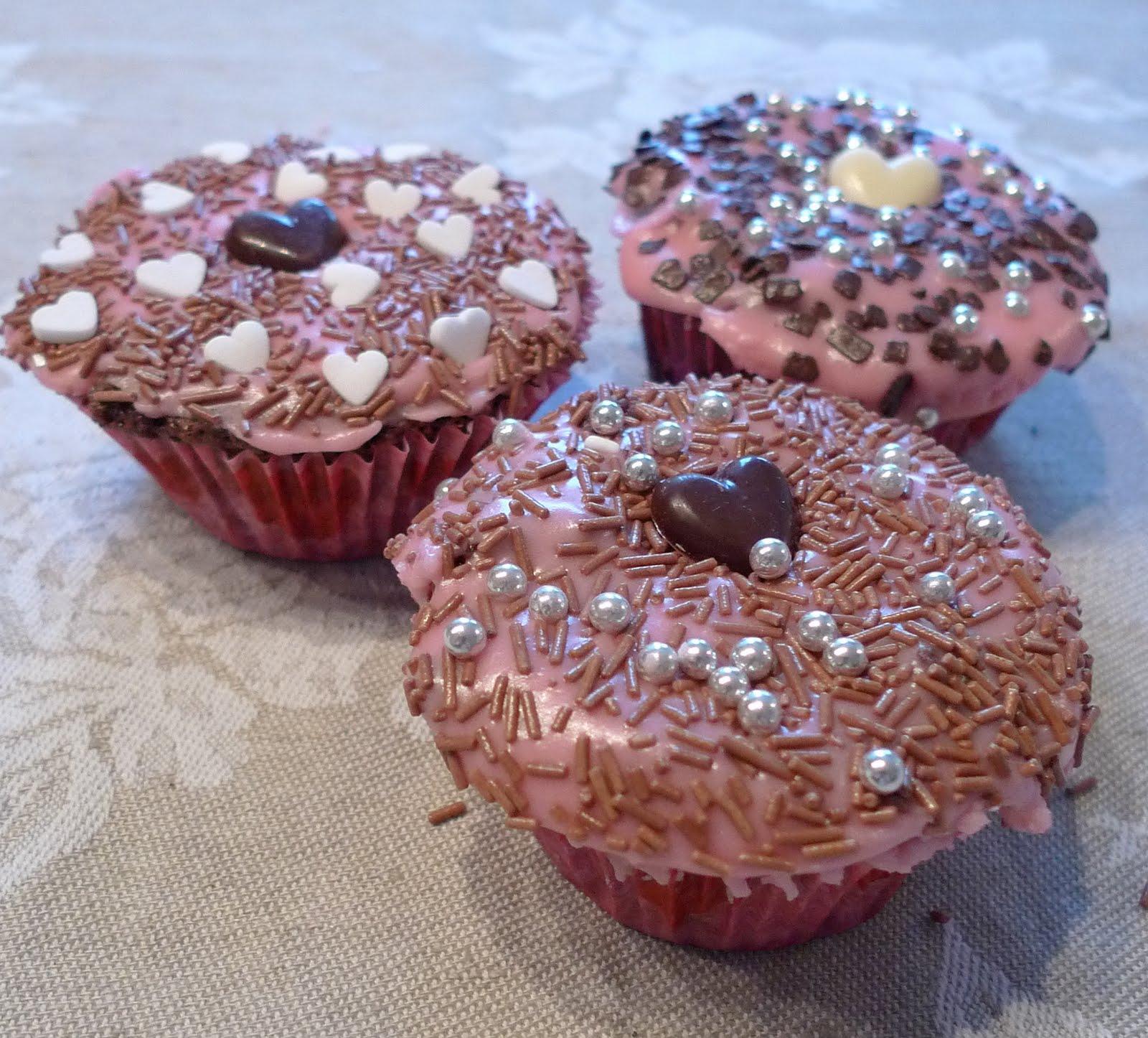 rosa cupcakes glasur