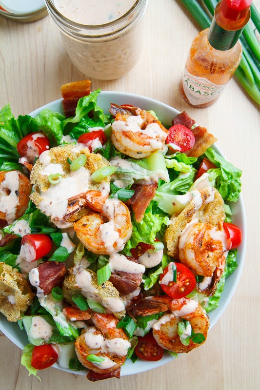 Blackened Shrimp and Fried Green Tomato Po Boy Salad