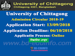 University of Chittagong (CU) Admission Test Circular 2018-2019