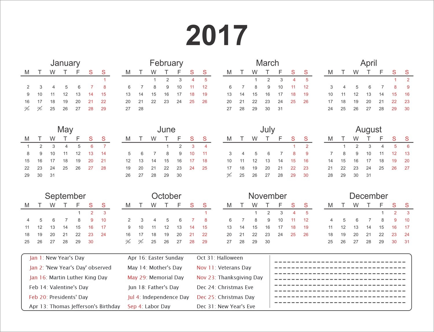 yearly calendar printable 2017