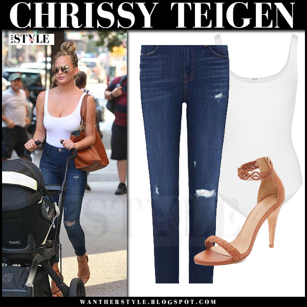 Chrissy Teigen in white wolford jamaika bodysuit, skinny jeans j brand alana and ankle strap sandals what she wore