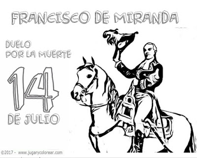 colorear 14 de Julio muerte de Francisco Miranda