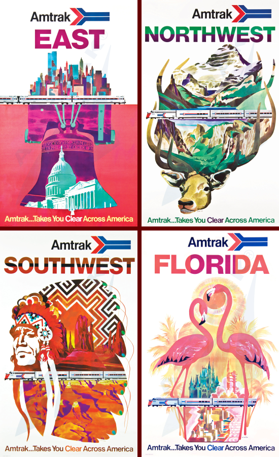 Amtrak posters 1973 by David Klein