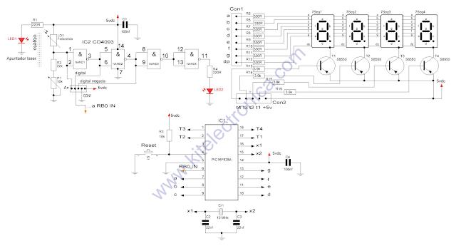 Contador de objetos fotoeléctrico con PIC16F628A y fotocelda.