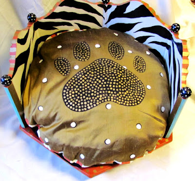hand painted dog bed and hand painted cushion