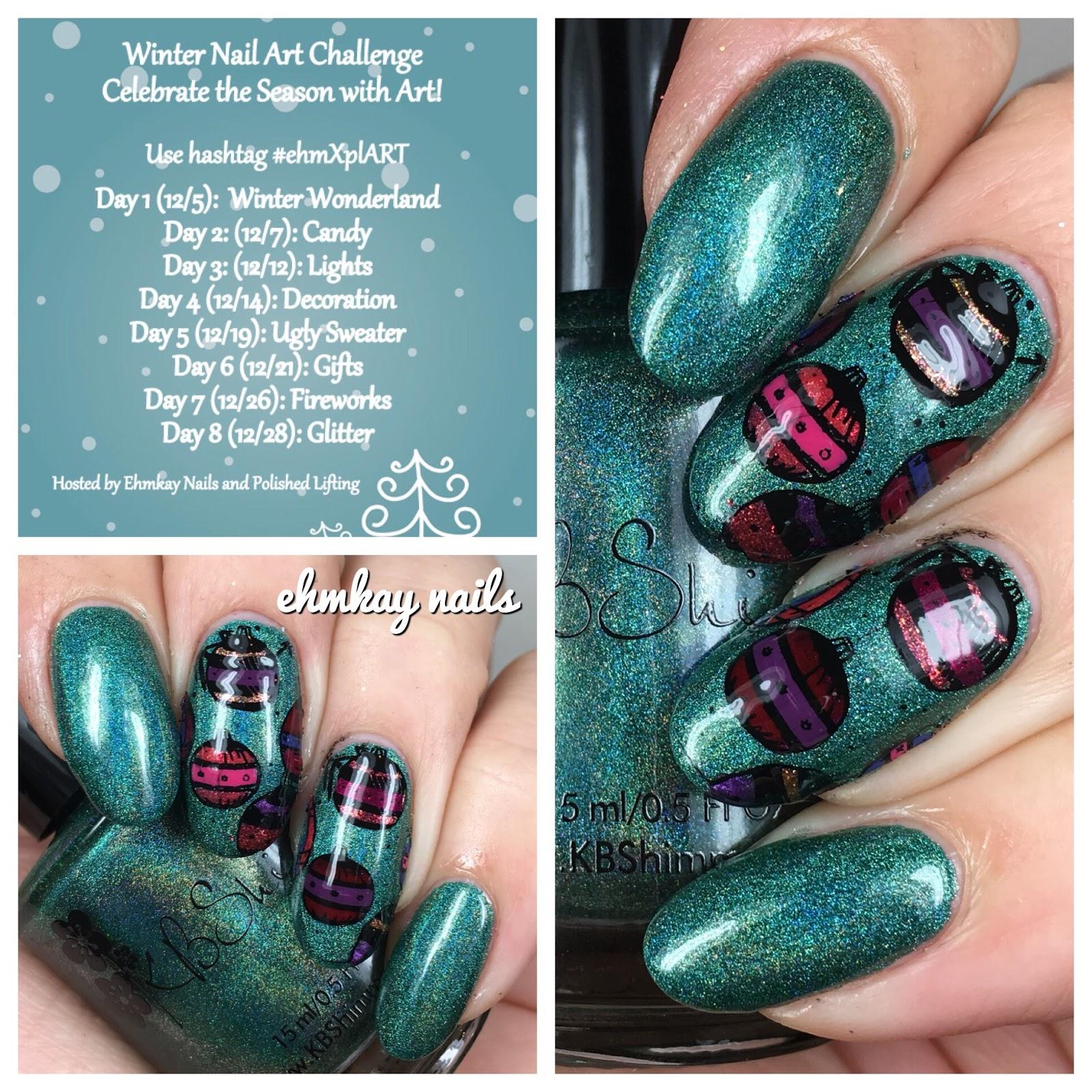 Ehmkay nails winter nail art challenge decorations ornament winter nail art challenge decorations ornament nail art prinsesfo Gallery
