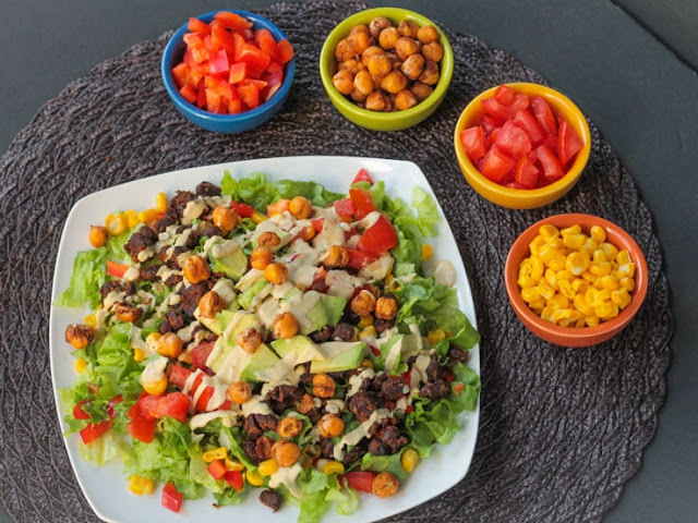 Roasted black bean taco salad