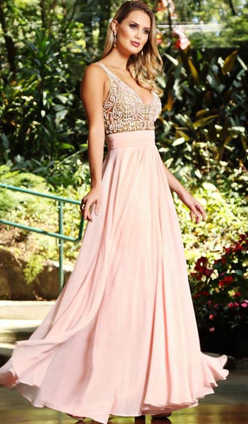 vestido longo rosa quartz