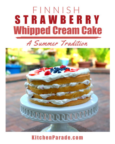 Finnish Strawberry Whipped Cream Cake ♥ KitchenParade.com, layers of sponge cake, fluffy whipped cream and strawberries, a real celebration cake.