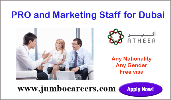 Dubai PRO and Marketing staff jobs for Indians, Current UAE jobs with benefits,