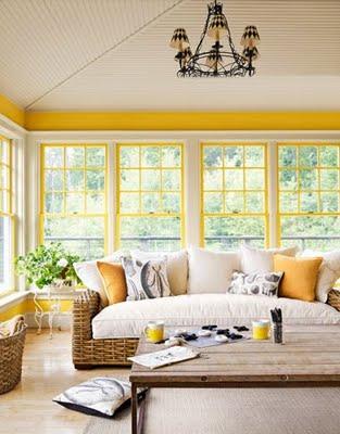 decoração em fibra, branco e amarelo