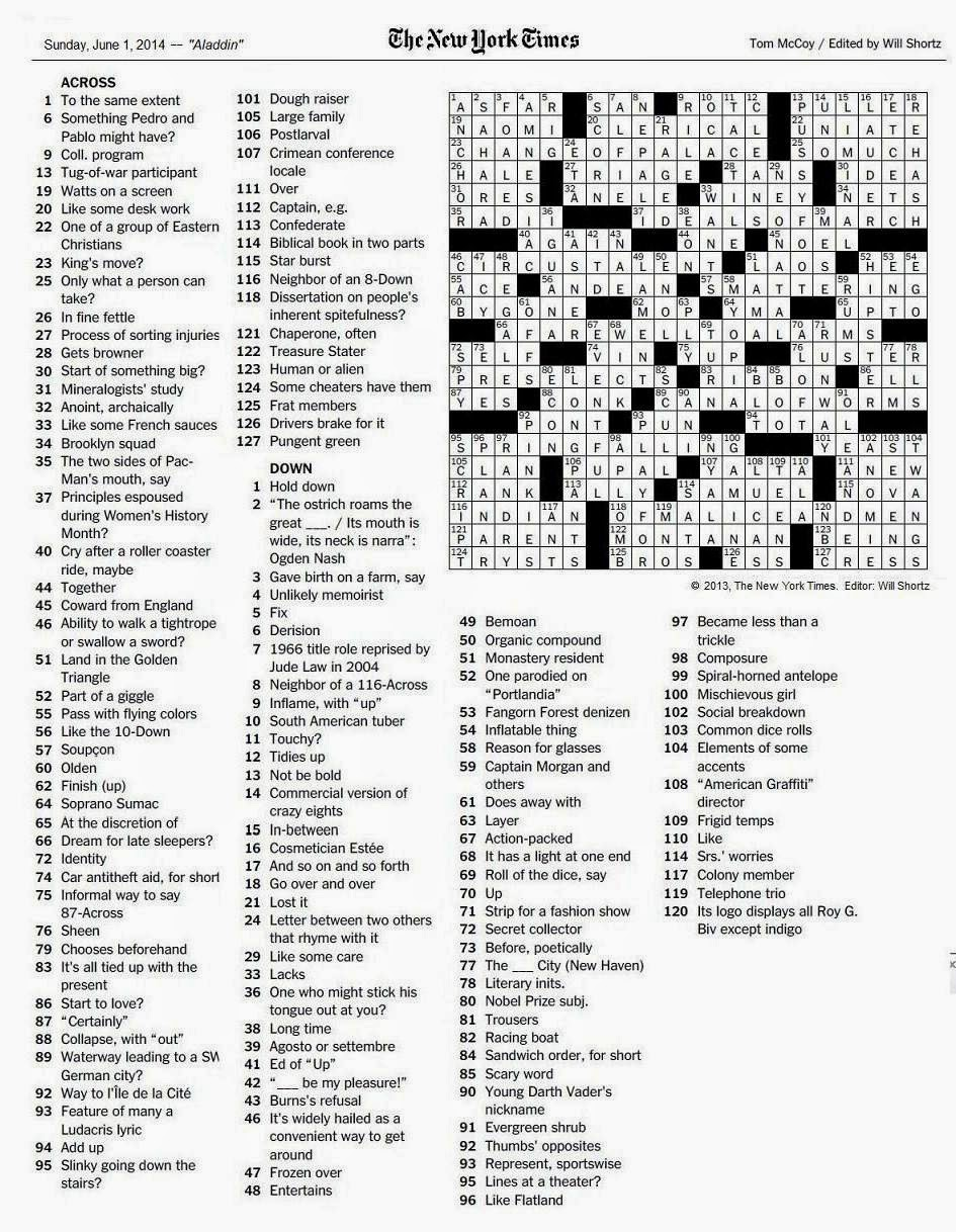 photograph relating to Nyt Sunday Crossword Printable identify Methods Contemporary York Occasions Sunday Crossword puzzles june 17 2018