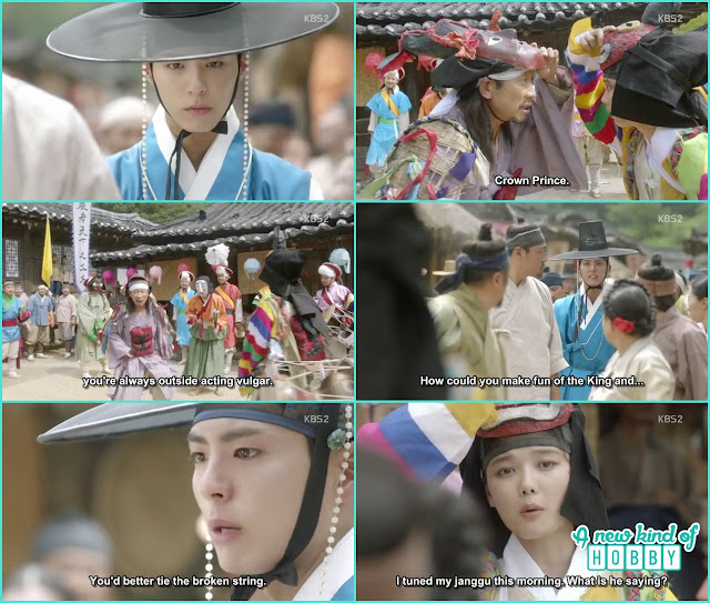 prince disguise as a commom man and watch the junggu player show  - Love in the Moonlight - Episode 1 Review