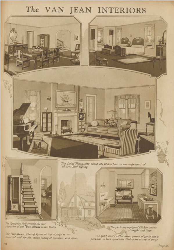 Sears Van Jean interior renderings in 1928 Sears Modern Homes catalog