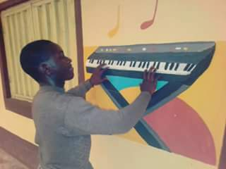 Playing piano on the wall