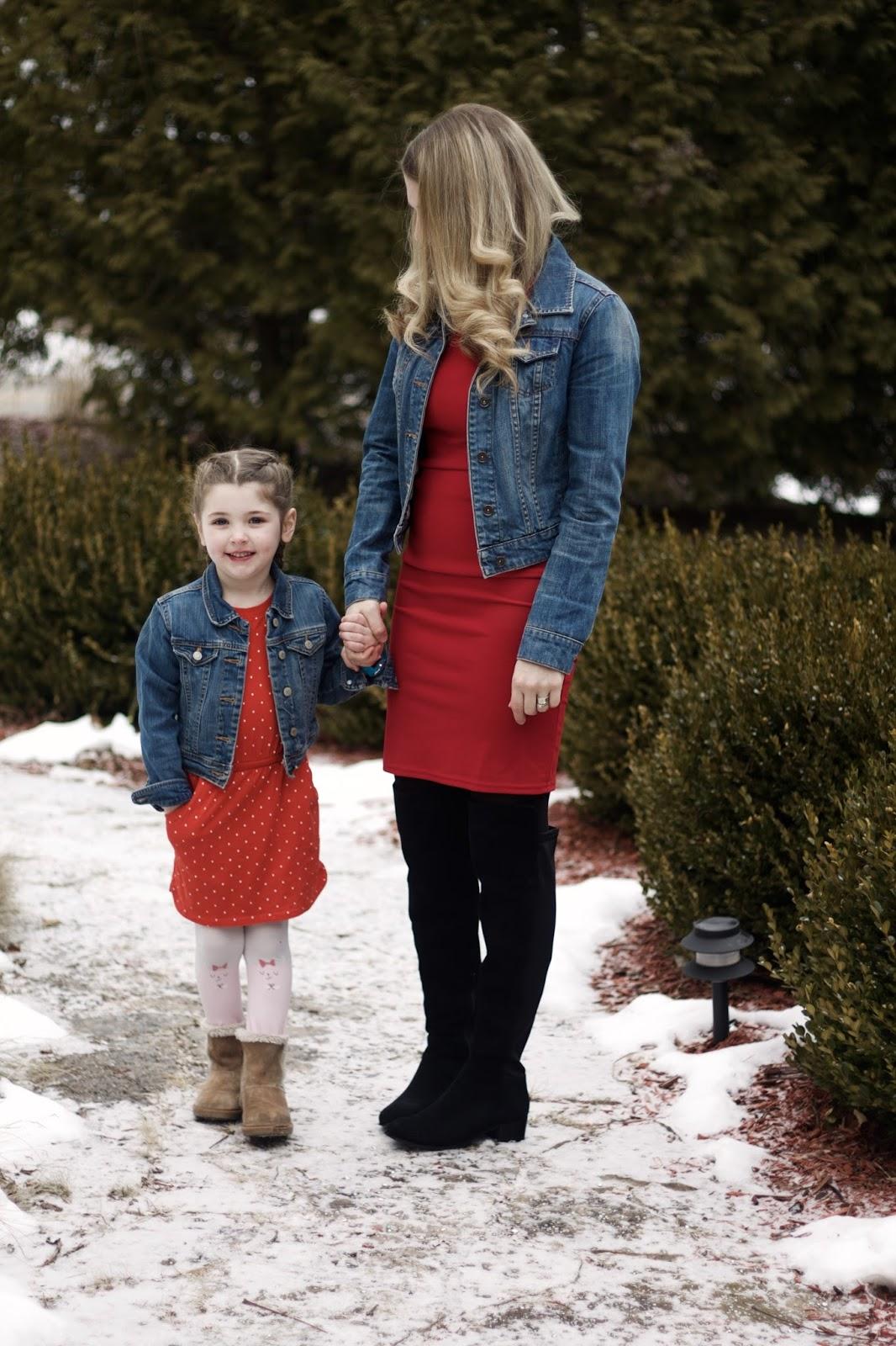 red dress, denim jacket, OTK black boots