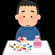 沢山の薬を飲む人のイラスト(男性)