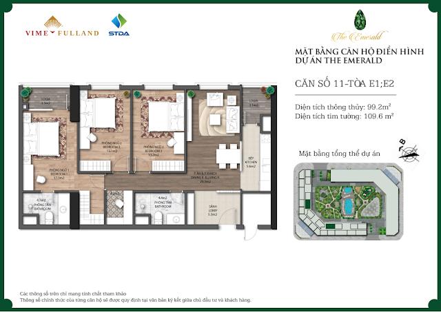 Thiết kế căn 11 tòa E1 - E2