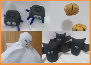 Decorações de Halloween com materiais reciclados