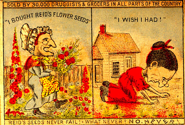 """older woman on left with bouquet & flourishing garden used reid's seeds, woman bending over ground disconsolately on right looking for sprouts used """"brand x"""" it appears!"""