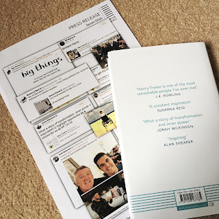 The white back cover of The Little Big Things next to the press release, detailing quotes; of which six out of eight include the word 'inspiration' in some form