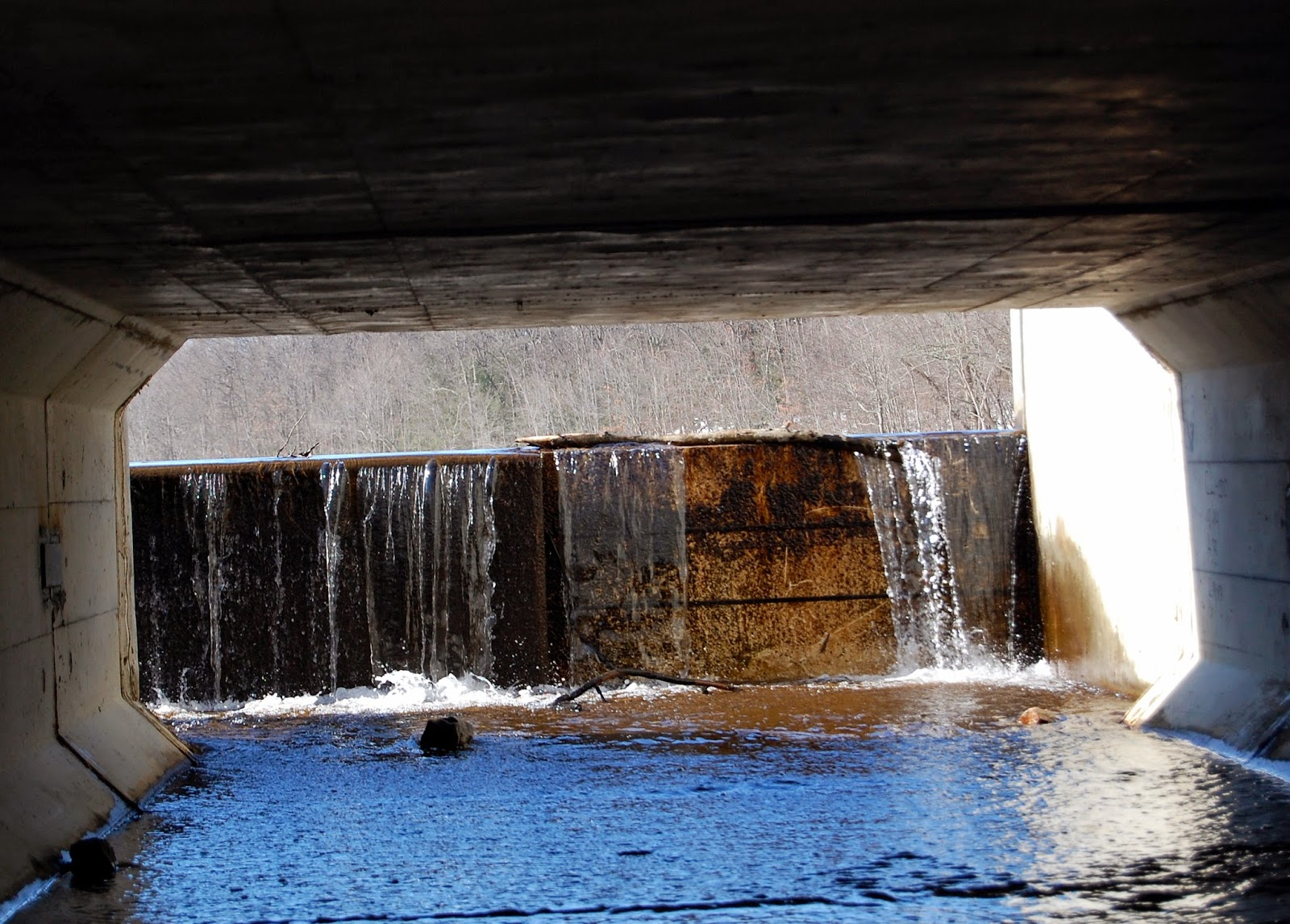 culvert view of the dam