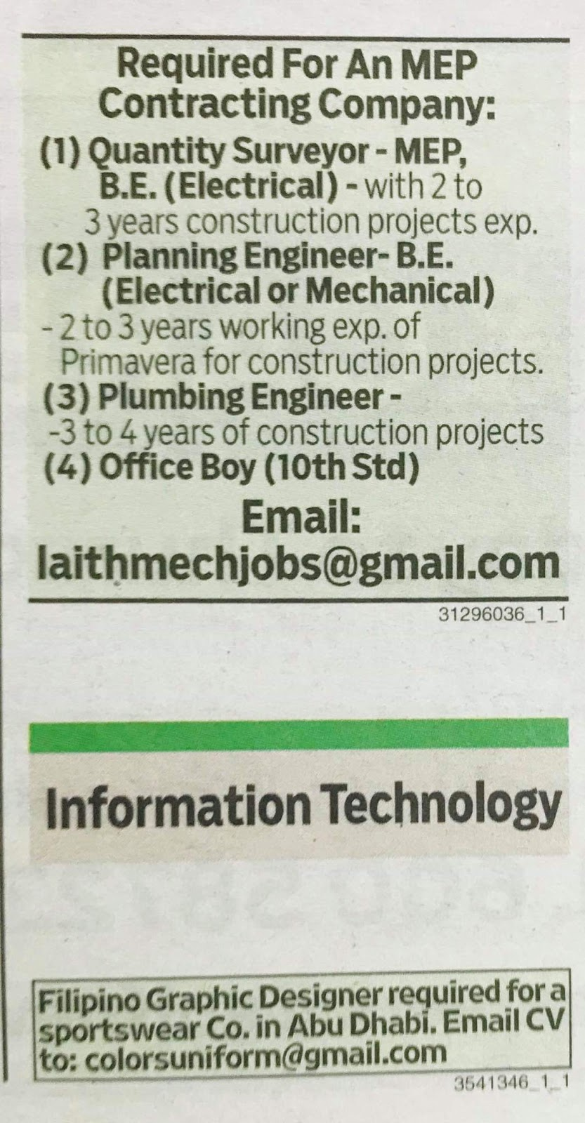 Required Quantity Surveyor, Planning Engineer, Plumber Engineer
