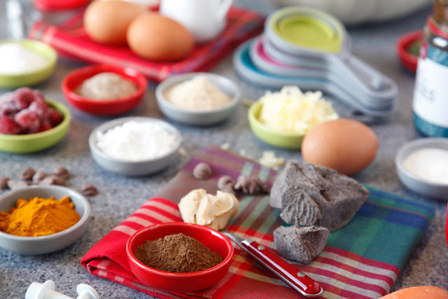 Baking and cooking ingredients for dog treat recipes.
