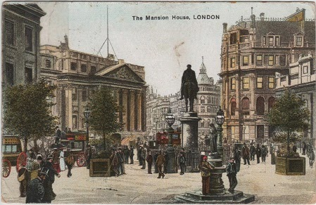 Vintage postcard of The Mansion House, London