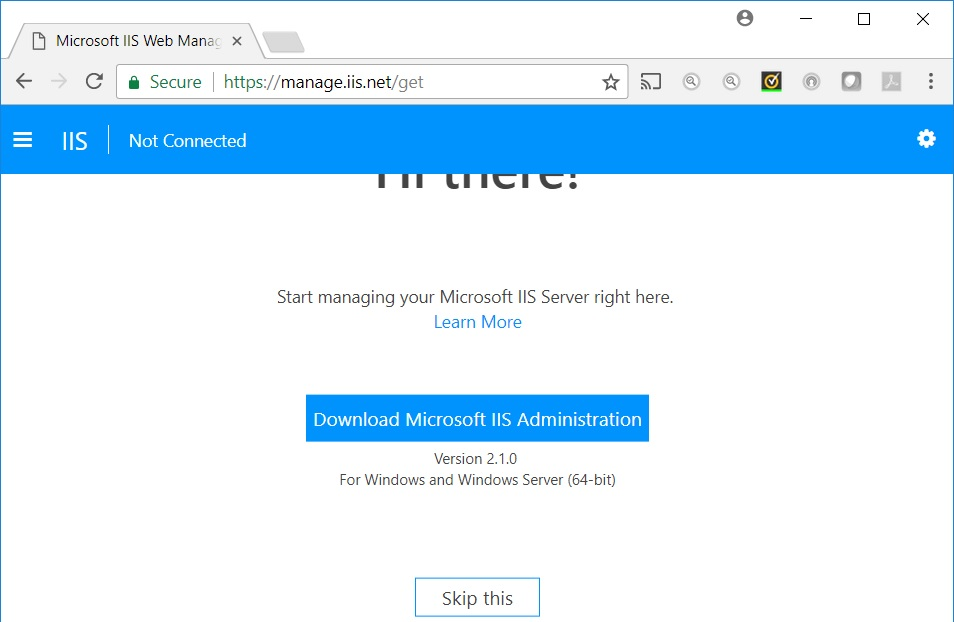 IIS100 with Windows Server 2016 IIS New functionality