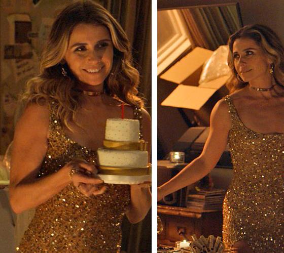 Atena (Giovana Antonelli) A regra do jogo, vestido dourado aniversário Homero Romulo