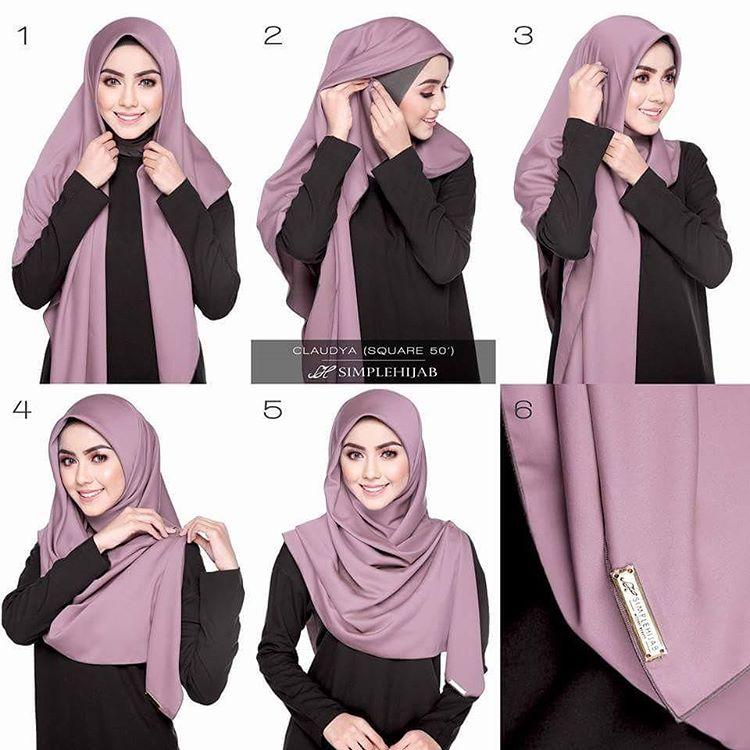Ismi Nur Azizah Model Tutorial Hijab Segi Empat Simple Terbaru