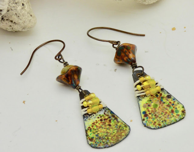 Boho Yellow Earrings by BayMoon Design