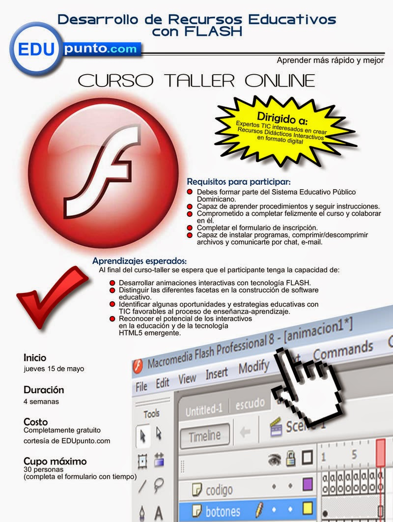 curso, taller, flash, educativo, edupunto.com, edupunto, recursos, on line, web