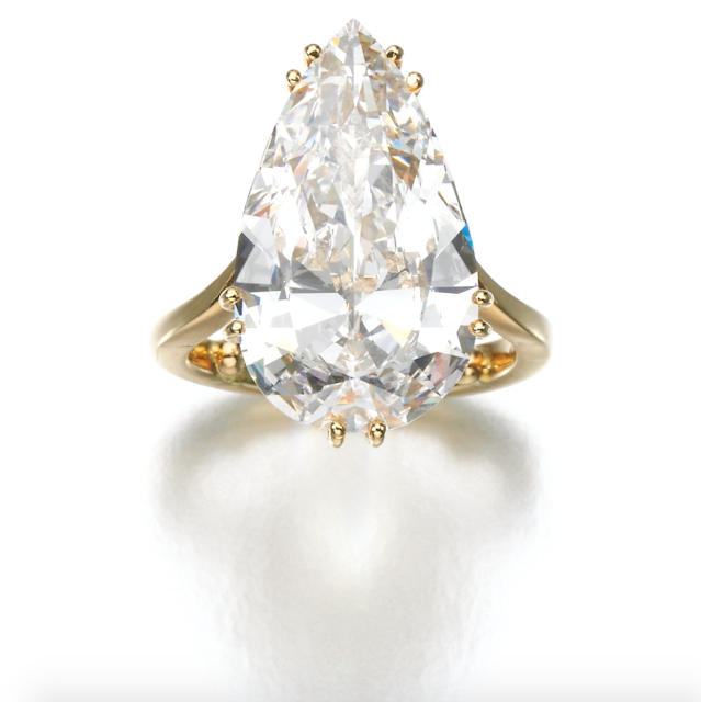 7.46 carats Pear Shape D IF Diamond Engagement Ring Sold for 257,000 GBP!
