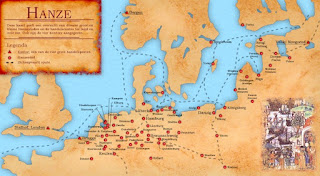 Map of the Hanseatic League showing main Hanseatic cities and trade routes