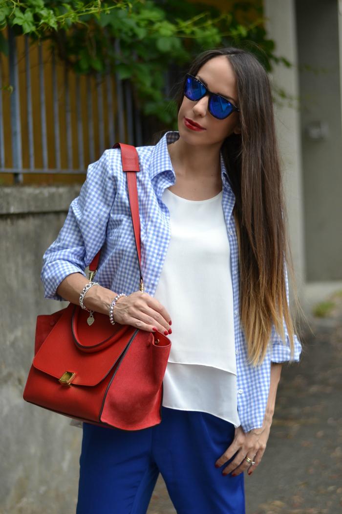 camicia vichy bianco azzurro