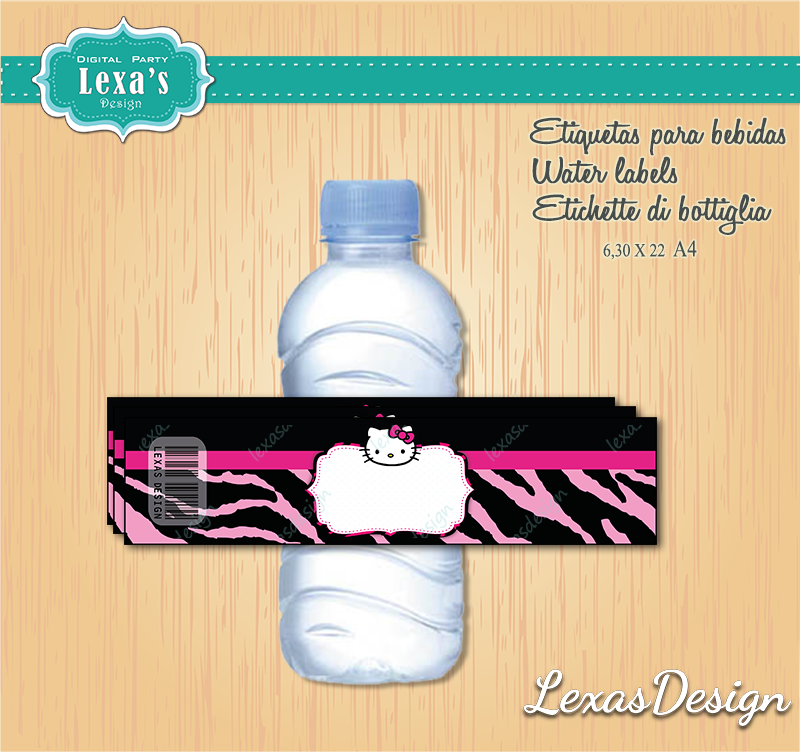 Etiquetas Jugo, Agua gratis Hello Kitty
