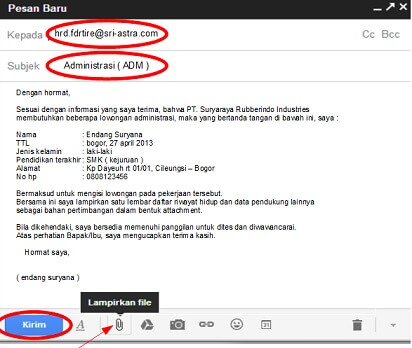 contoh surat lamaran kerja via email yang menarik