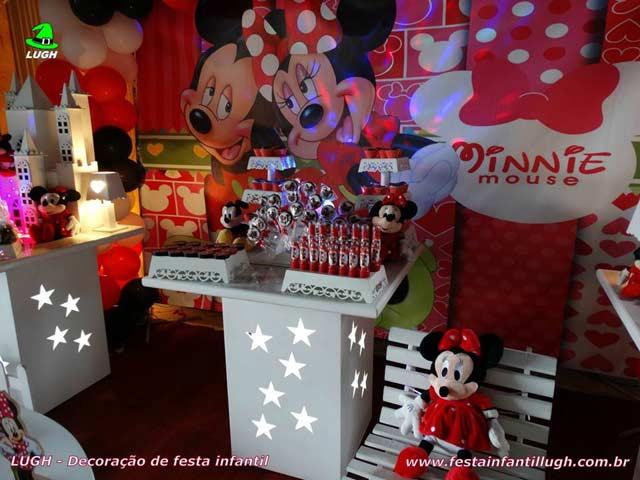Decoração de aniversário tema da Minnie - mesa decorativa provençal