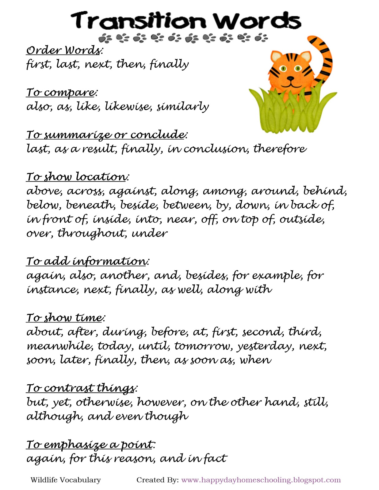 List Of Transition Words For Kids