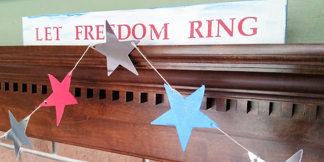 Fourth of July DIY Mantel Rustic Sign with Silhouette Cameo by Lina and VI