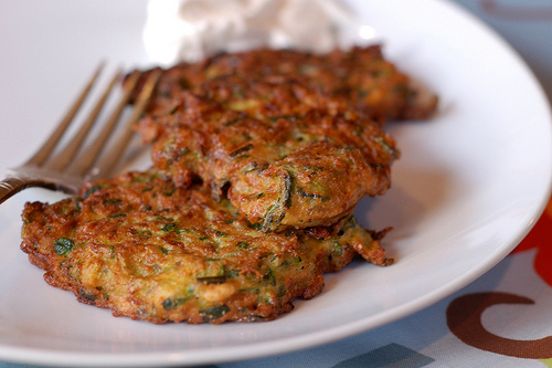 Zucchini fritters. Image by Eve Fox, The Garden of Eating, copyright 2013