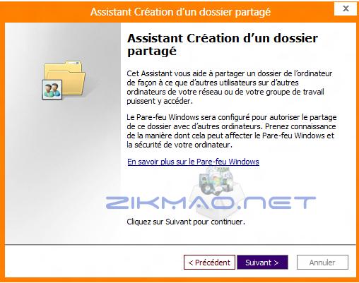 Création dossier partagé Windows 8