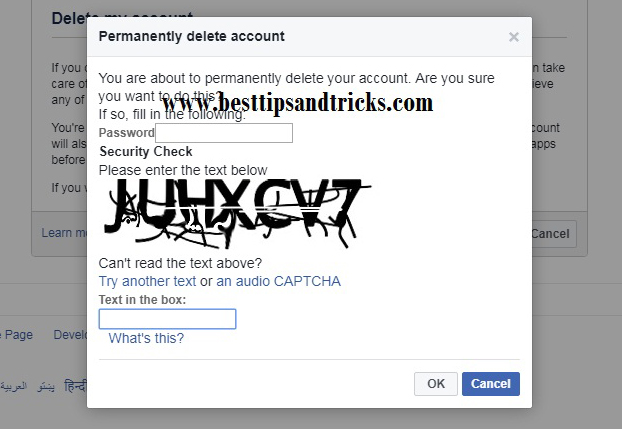 Permanently Remove facebook profile