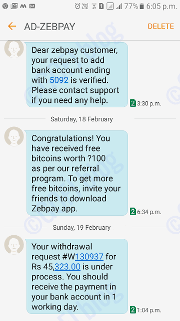 Zebpay bitcoin withdrawn to the bank account SMS