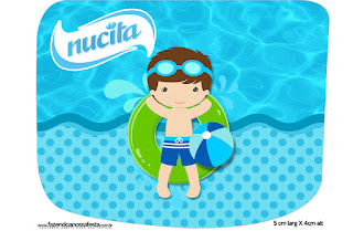 Boy in Pool: Free Printables Candy Bar Labels.