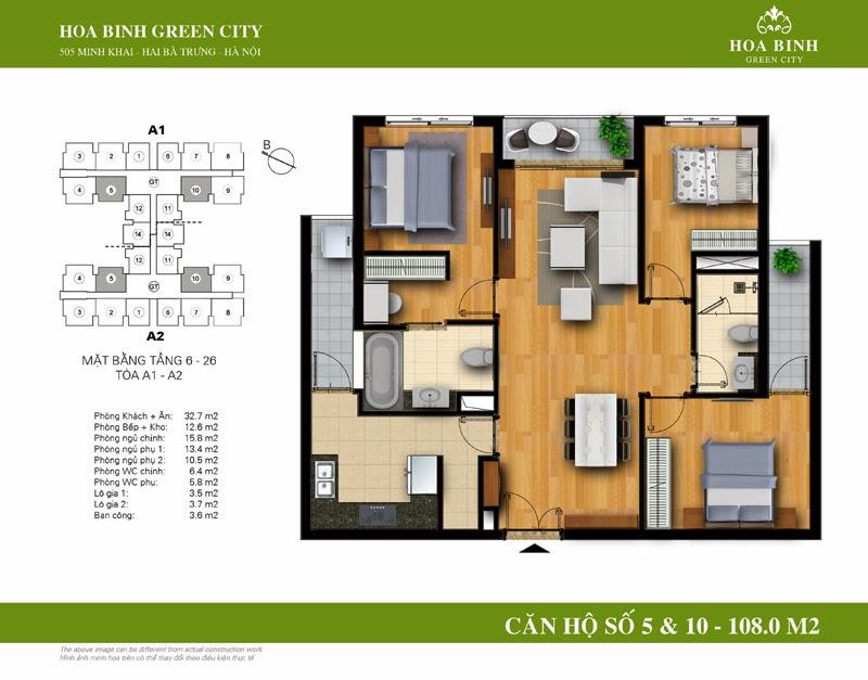 căn số 05 - 10 ( 108m2 ) chung cư Hòa Bình Green City